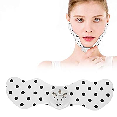 Electric Facial Slimming Lifting Massage Pad, Double Chin Removal V-Shape Face Belt Patch Face Shaper Massage Pad with 6 Massage Modes 10 Intensity Levels