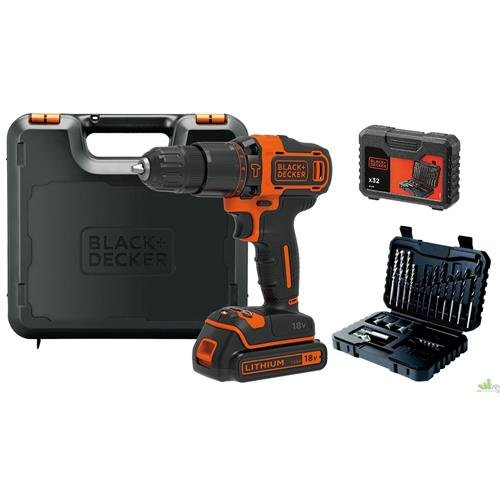 Black+Decker bdchd18s32-qw taladro percutor inalámbrico 18V–32accesorios + bolsa de almacenamiento, 18V, Naranja, Set de 2piezas