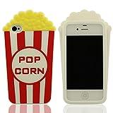Spécial Pop Corn Modélisation Silicone Gel Coque étui Case Compatible avec l'iPhone 4 / iPhone 4S / iPhone 4G, Blanc Couleur Souple