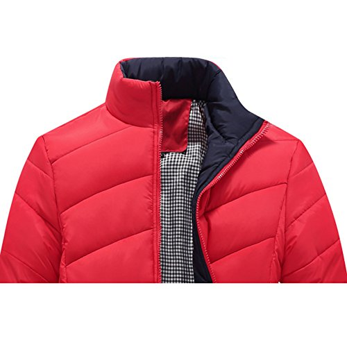 Highdas Homme Regular Fit Classic Solid Coat Winter Cotton Rouge