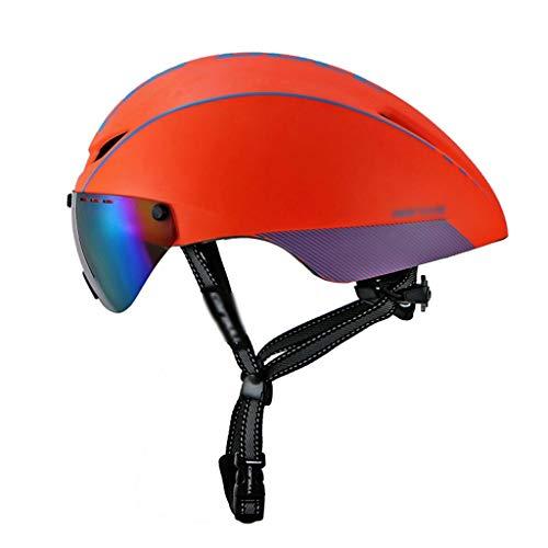 CXQBYNN Fahrradhelm, Fahrradhelm abnehmbare Schildvisier geeignet für Männer und Frauen ultraleichte verstellbare Brille mehrfarbige Linse (Color : Orange Blue)