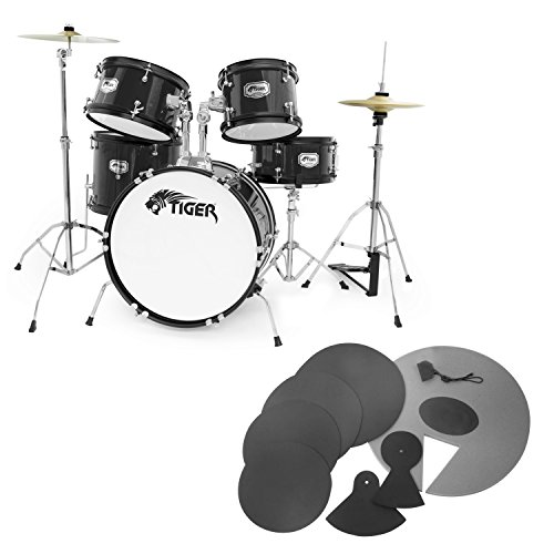 tiger-junior-5-piece-black-drum-kit-with-silencer-pads-drum-set-pack-with-5-piece-drum-kit-drum-stoo