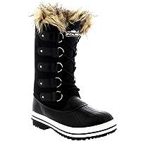 POLAR Womens Cuff Lace up Rubber Sole Tall Winter Waterproof Snow Rain Shoe Boots