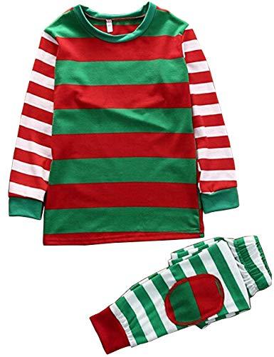 BESBOMIG Familie Kleidung Set Weihnachten passende Pyjama - Eltern-Kind-Outfit Baumwolle Langarm T-Shirt Papa Mama und Sohn Tochter Pyjamas , rot/gruen/weiss, L