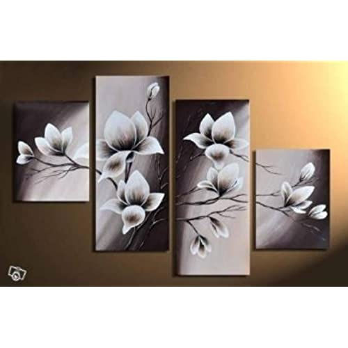 Wieco Art   Elegant Blooming Flowers 4 Panels Modern 100% Hand Painted  Floral Oil Paintings Artwork On Canvas Wall Art Set Ready To Hang For  Living Room ...