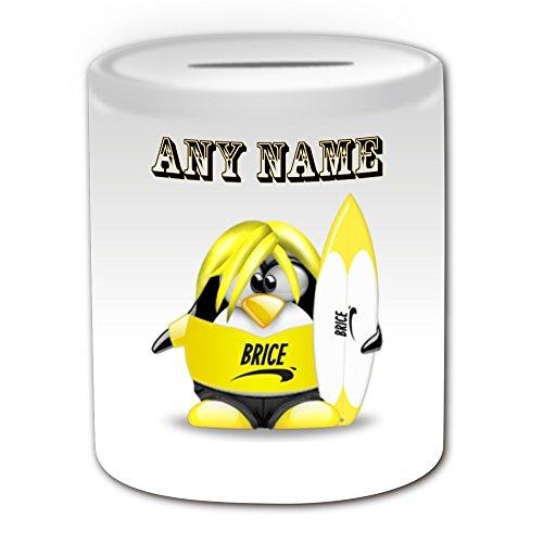 Personalisiertes Geschenk-Surfen Brice De Nice Spardose (Design Pinguin in Kostüm Thema, weiß)-alle Nachricht/Name auf Ihre (Son In Law Kostüm)