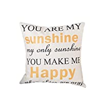 Qinlee Pillow Cover Case Pillowcases Linen Soft Cushion Cover of 45*45cm Sunshine Pillow Case Cover Decor for Sofa Home Car Office Decoration