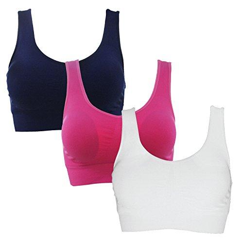 Foto de SHEKINI Sujetador Deportivo Mujer sin Aro sin Costuras para Deporte de Impacto Medio Yoga Pack 3 (M/L, D)