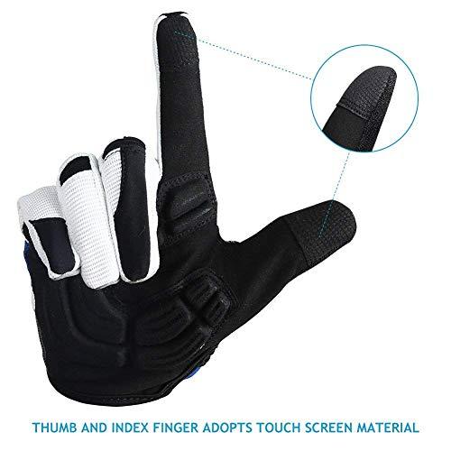 Inbike Herren Fahrradhandschuhe Mit Gel vollfinger MTB Handschuhe für das Radfahren(Blau-Lang,L) - 4