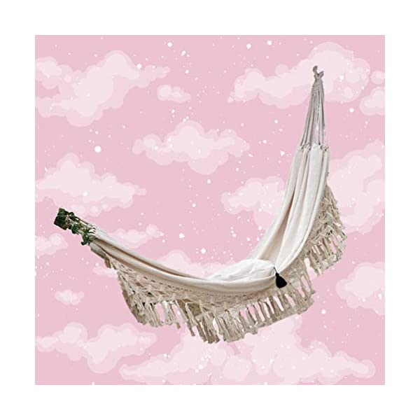 DOITOOL Hammock Boho Tassel Double Hammock Two Person Bed for Backyard Porch Outdoor Indoor DOITOOL Lightweight, easy to carry and use. Perfect for relaxing yourself during outdoor activities, such as camping, traveling, backpacking, etc. Made of high quality material, durable and safe to use. 5