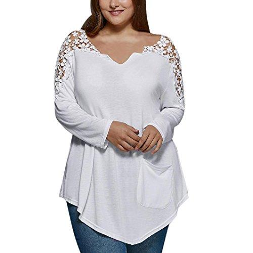 ღ ninasill ღ Plus Größe Fashion Spitze Lange Ärmel T-Shirt Casual Top Bluse Weiß XXXXXL