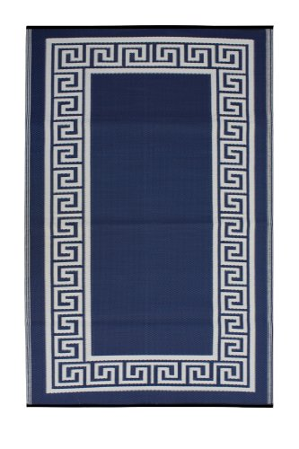 Fab Hab - Athens - Alfombra para Exterior e Interior - Azul de Medianoche y Crema - (90 cm x 150 cm)
