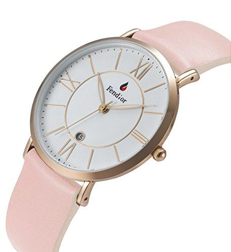 DMwatch Rosa Leder Uhrenarmband 3ATM Wasserdicht Mode Weiß Watchcase Rose Gold Lünette Mit Datum Analoganzeige Quarz Watch Für Damen