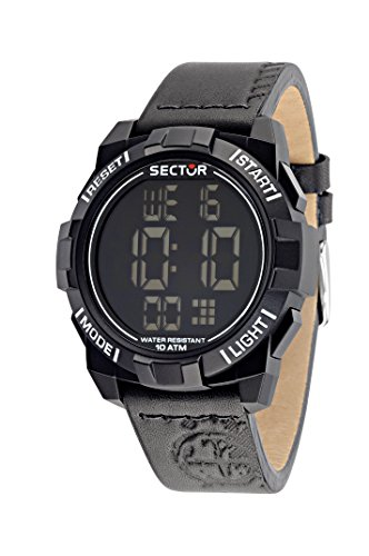 Sector No Limits Street Fashion Men's Quartz Watch with Black Dial Digital Display and Black Leather Strap R3251172046