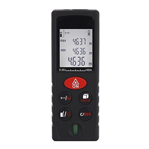 Laser Entfernungsmesser, ICOCO 40M Distanzmesser Distanzmessgerät (Messbreich 0,05~40m/±2mm mit LCD Hintergrundbeleuchtung/Staub- und Spritzwasserschutz IP54)