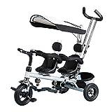 TCYLZ 4 in 1 Zwillingen scherzt Baby-Dreiradkinderfahrrad mit doppeltem drehbarem Sitz, abnehmbare Markise, leeres Titanrad, für 1-6 Jahre alt