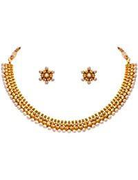 JFL - Traditional Ethnic One Gram Gold Plated White Pearls Designer Necklace Set For Women & Girls.