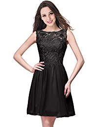 1390a459b0a0a4 Misshow Damen Cocktailkleid Mini Elegant Kurz Spitze Ärmellos Partykleid  Ball Abendkleid