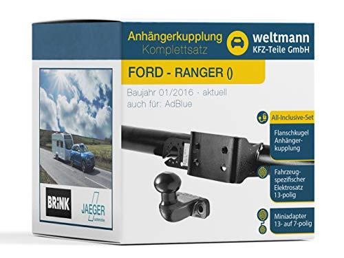 Weltmann 7D500121 AHK Komplettset Brink 2-Loch Anhängerkupplung + fahrzeugspezifischer Jaeger Automotive Elektrosatz 13-polig geeignet für Ford Ranger