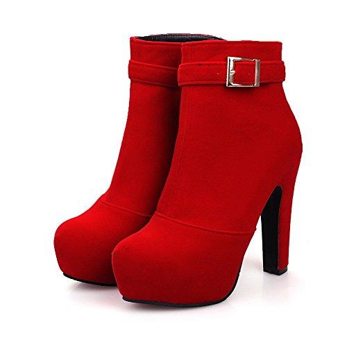 AllhqFashion Damen Hoher Absatz Rein Rund Zehe Reißverschluss Stiefel mit Schnalle, Rot, 38