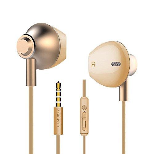 Metal Cuffie con cancellazione del rumore, Cuffie In-Ear Bassi Potenti Alta Definizione con Microfono e Controller, Headset Stereo 3.5 mm per iPhone/iPod/iPad/Lettori mp3/Samsung y etc. (Rose gold)