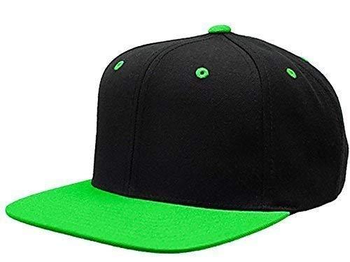 Cappello snap back cappellino frontino visiera tinta unita bicolore blu azzurro nero verde grigio (azzurro)