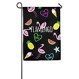 Dozili Flagge Flamingos Wassermelonen Ananas Hausdeko Garten Flagge wetterfest & doppelseitig Hofflagge, Polyester, bunt, 12.5