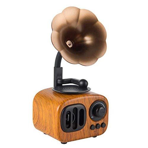 LSJ Holz Bluetooth-Lautsprecher, Retro drahtlose Lautsprecher Portable mit HD Audio und Enhanced Bass, eingebaute wiederaufladbare Batterie, TF-Karten-Slot for Home Office (Color : A)