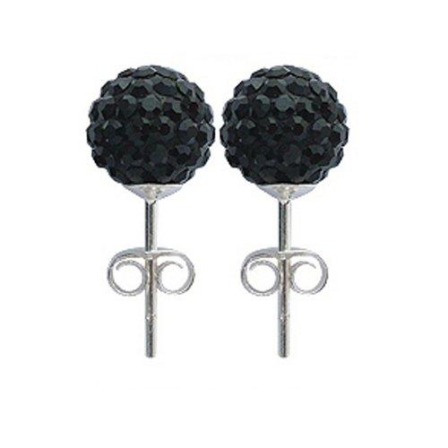 Clou d'oreilles cristal, 8MM bling bling! © Bodytrend - argent 925 - boucles d'oreilles en argent faites avec plus de 70 cristaux Boucles d'oreilles jet noir 8MM
