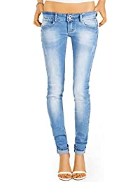 Bestyledberlin Damen Jeans Hosen, Slim Fit Hüftjeans, Stretch Röhrenjeans j13i-n