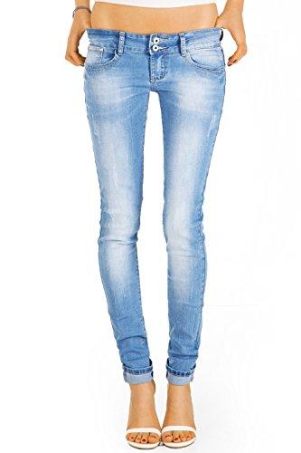 Bestyledberlin Damen Jeans Hosen, Slim Fit Hüftjeans, Stretch Röhrenjeans j13i-n 42/XL