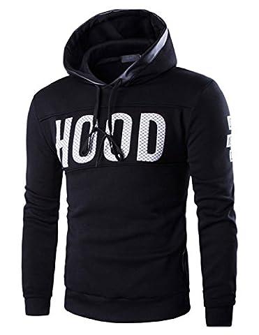 Boom Fashion Mode Homme Sweat à capuche épaissir Manteaux Vestes Impression Casual Sweat-shirt Hoodie,Noir,EU S=Asie L