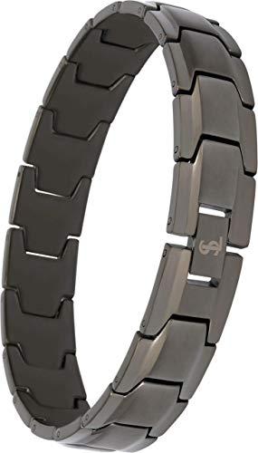 Smarter LifeStyle Elegantes Herren-Armband aus chirurgischem Stahl mit breitem Gliederarmband, 4 Farben zur Auswahl - Gunmetal Gray -