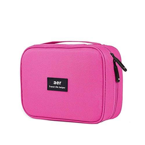 Abaría - Bolsas de aseo 2 piezas (1 x bolsa + 1 x caja de cepillo de dientes) - Bolso cosmético Impermeable - Neceseres de viaje - Bolso almacenaje del bolso de la toalla para viaje, rosa