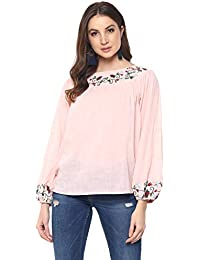 mayra Women's Cotton Pink Color Long Sleeve Embroideried Top