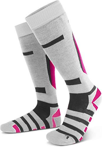 2 Paar Warme Knistrümpfe Skisocken mit Spezialpolsterung und Wolle für Damen und Herren Farbe RIPP/Weiß/Pink Größe 35/38