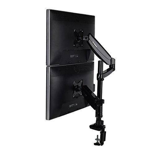 Desktop Workstation Combo-88,9cm Breite Plattform höhenverstellbar Stehpult Riser mit Dual Monitor Arm vertical dual arms -