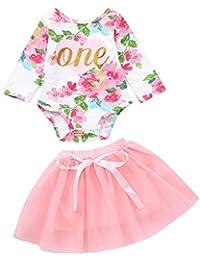 Ropa para bebés,Ropa para niños,(6M-24M) Carta de Manga Larga de bebé Floral Impreso Haberdash + Falda de Red Falda de tutú Conjunto de Dos Piezas,2PCS
