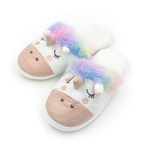 Womens Warm Indoor Slippers Fleece Plush Unicorn Animal Slip-on House Bedroom Winter Shoes