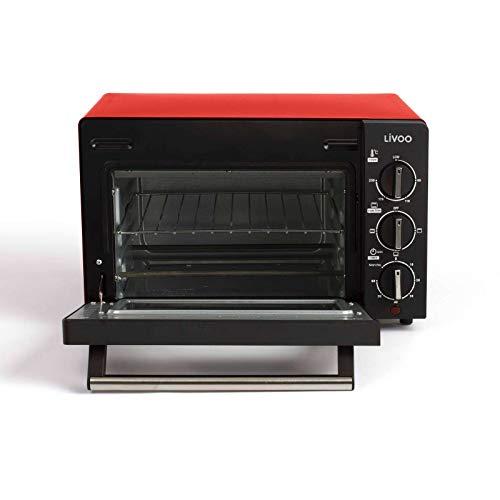 Minibackofen 14 Liter Mini Backofen 1200 Watt Rot (Miniofen, 3 Funktion, Timer, Pizzaofen, bis 230°C)