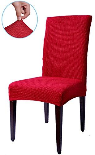 Subrtex Spandex Stretch Jacquard Dining Room Chair Slipcovers (4, Wine Jacquard)