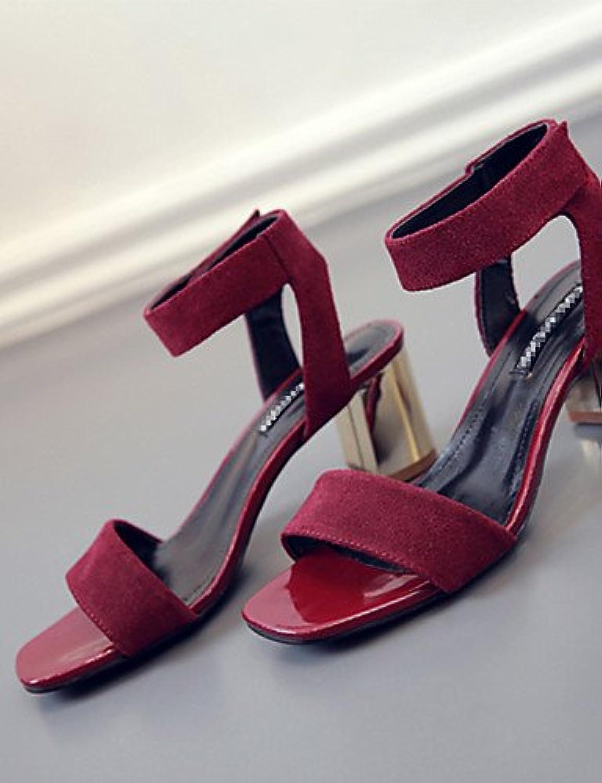 GGX/ Zapatos de mujer-Tacón Robusto-Punta Abierta-Tacones-Casual-Cuero-Negro / Bermellón / Almendra , burgundy-us5...
