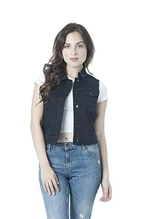 Sleeveless Button Up Jean Denim Jacket Vest (Small, Black)