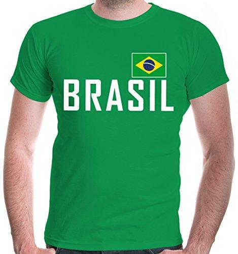 irt Brasilien | Brasil Brazil Amerika Ländershirt Fanshirt Flagge Trikot Reise | XL, Grün (Cop Outfit Zu Halloween)