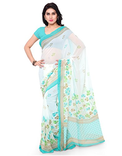 Surat Tex White & Sky Blue Color Chiffon Printed Casual Wear Saree with Blouse Piece-I593SECM-24  available at amazon for Rs.389