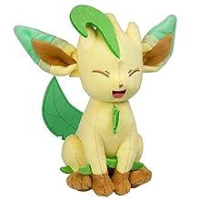 Peluche Tomy Pokémon Leafeon dans boîte fenêtre, Peluche de Haute qualité 20 cm pour Jouer et Collectionner pour Enfants à partir de 3 Ans