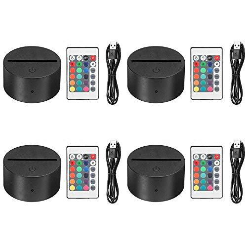 EEEKit 4 Pack 3D Nacht LED Licht Lampensockel + Fernbedienung + USB Kabel Einstellbar 7 Farben Dekoration de la Maison Dekorative Leuchten für Schlafzimmer Kinderzimmer Wohnzimmer Bar Shop Café