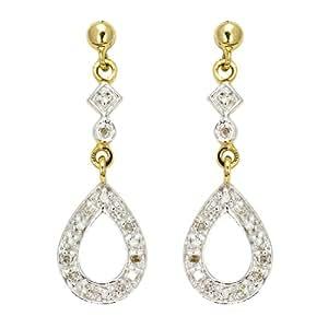 Ornami Glamour 9ct Yellow Gold 0.12 carat Diamond Fancy Drop Earrings