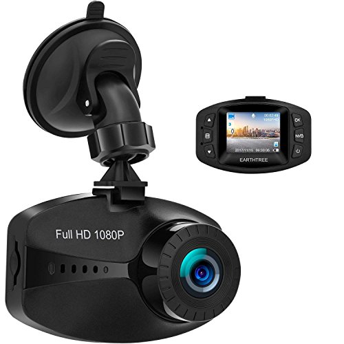 EARTHTREE Dashcam HD 1080p Car Camera with WDR G-Sensor Loop Recording Motion Detection and Parking Monitor - überwachungskamera Infrarot