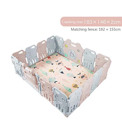 Baby-Kunststoff-Laufstall, Sicher Und Geschmacklos AußErhalb TüRschloss, Mehr Spaß Spielzeug, Familie Cartoon Spiel Zaun (16 Panel Mit Game Panel) (Außerhalb Türschloss)